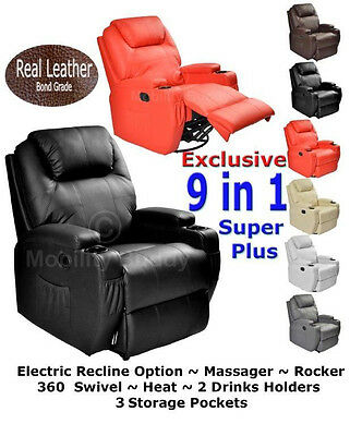 New Real Leather Cinema Massage Rocking Swivel Nursing Gaming Recliner Chair