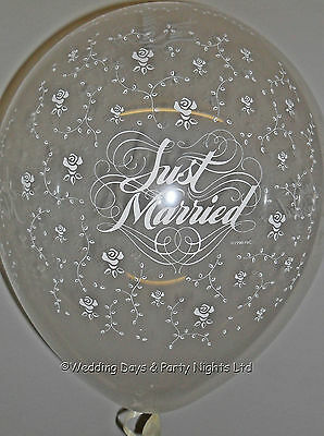 """20 Qualatex 11"""" Clear Flower Just Married Helium/Air Wedding Balloons Decoration"""