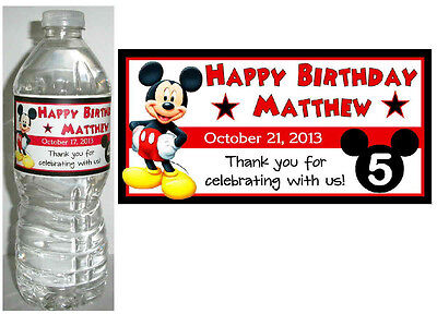 20 MICKEY MOUSE Birthday Water Bottle Labels - Glossy