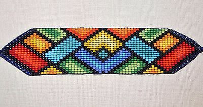 Glass Seed Bead South American Loom Work Ceremony Bracelet, Colombian Beadwork