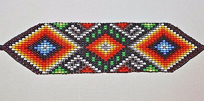 Glass Seed Bead South American Loom Work Ceremonial Bracelet, Colombian Beadwork