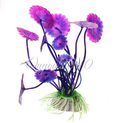 1/5/10x Plastic Aquarium decorations Purple Plants Fish Tank Grass Ornament NEW