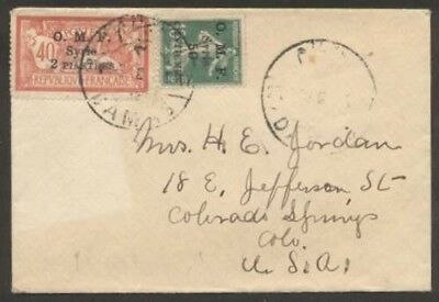 France Office In Syria O.M.F To USA Cover w 2 Stamps L@@K