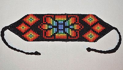 Glass Seed Bead South American Loom Work Bracelet, Colombian Beadwork
