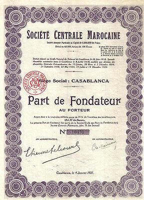 Africa Morocco 1927 Societe Centrale Marocaine share founder coupons Uncancelled
