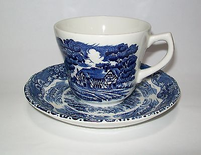 Grindley English Country Inns Blue Cup & Saucer Set