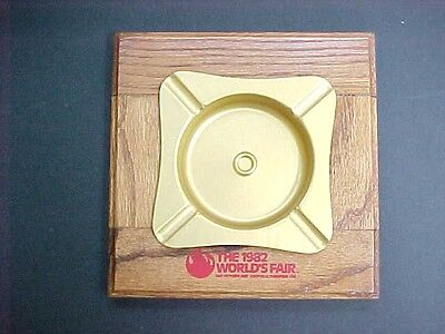Original Wood & Metal Ashtray 1982 World's Fair Knoxville TN  Exc++ Condition