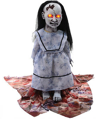 Lunging jumping lullaby baby zombie ANIMATED halloween PROP watch video