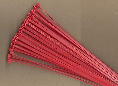 """100 11"""" Inch Long 50# Pound RED Nylon Cable Zip Ties Ty Wrap MADE IN USA"""