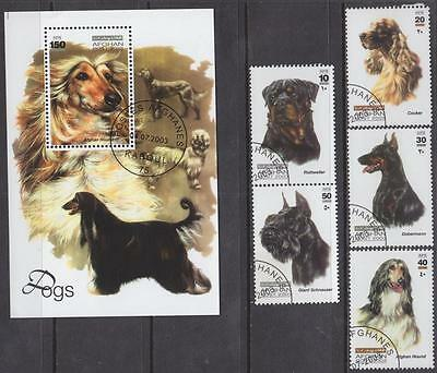 Afghanistan #1399-1405 used S/S & set Dogs 2003 cv $34.50