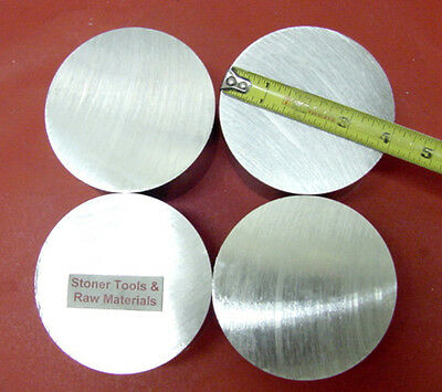 "4 Pieces 4"" ALUMINUM 6061 ROUND SOLID ROD 2.00"" LONG 4.00"" T651 Lathe Bar Stock"