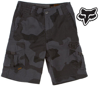 FOX RACING BOYS SLAMBOZO CARGO SHORTS motocross mx kids youth new CHARCOAL CAMO