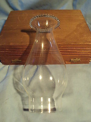 """7.375"""" tall BEADED TOP GLASS OIL LAMP CHIMNEY 2.4375"""" fitter end Vintage Modern"""