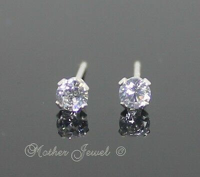 3mm Real Solid 925 STERLING SILVER Round Studs Simulated Diamond Earrings Stud