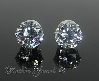 5mm REAL SOLID 925 STERLING SILVER Round Simulated Diamond Earrings Unisex Studs