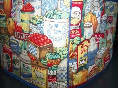 Country Pantry Shelves Eggs Quilted Fabric 2-Slice or 4-Slice Toaster Cover NEW