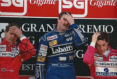 Nigel MANSELL SIGNED Podium Win 12x8 Photo Autograph AFTAL COA WILLIAMS Genuine