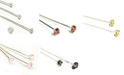 Sterling Silver Pin Cz Crystal Stone Ball Headpins Varible Gauge Color Length