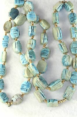 Vtg Egyptian Faience Blue Scarab Bead Necklace 30 Inches