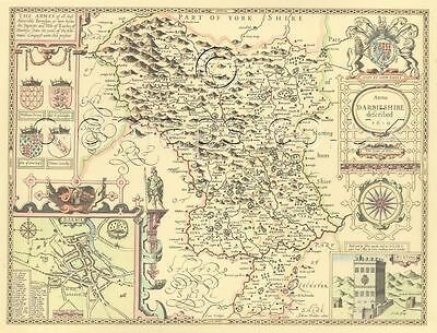 Derbyshire DERBY  John Speed Replica Old  map c.1610.Full Size Printed Copy