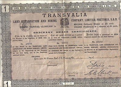 Transvaal South Africa 1889 Transvalia Land Exploration Mining £1 Uncancelled