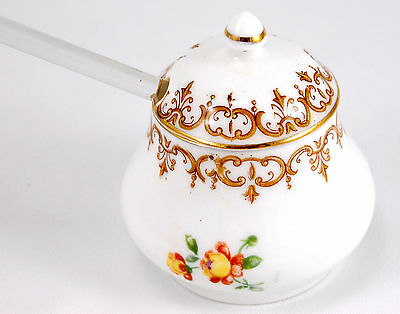 Crown Staffordshire ENGLAND'S BOUQUET F15831 Mustard Jar and Lid 2.75 in. Floral