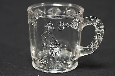 "'By Jingo' Vtg EAPG Child's Cup Barefoot Man Embellished Glass Cup 3"" Tall"