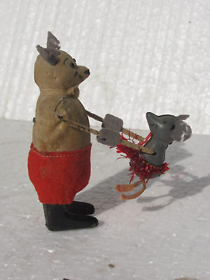 Rare Vintage Windup Schuco Dancing Papa & Baby Mouse Toy , Gemany