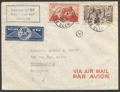 France To Argentina Airmail Cover 1951 w 2 Stamps L@@K