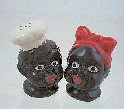 BLACK AMERICANA CHEF & MAMMY w/ RED BOW SALT PEPPER SHAKERS - SHIPS FREE