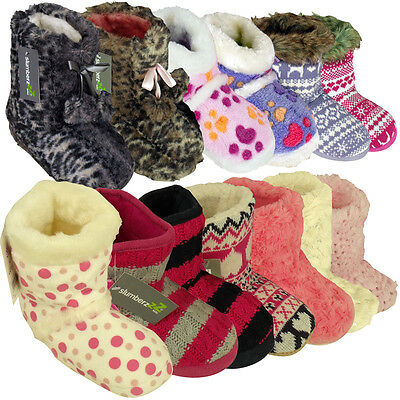 Girls Furry Eskimo Ankle Boot Slipper Childrens Kids Novelty Slippers Sizes 9-3