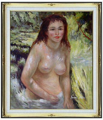 Framed, Hand Painted Oil Painting, Renoir Nude in the Sunlight Repro. 20x24in