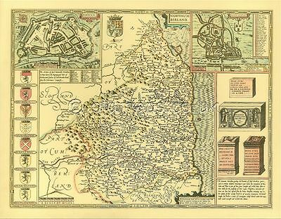 Northumberland Newcastle Replica old map John Speed 1610 ALL HAND COLOURED Gift?