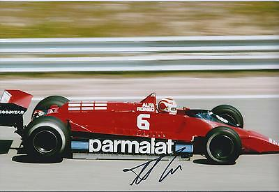 Nelson PIQUET SIGNED ALFA ROMEO 12x8 Photo AFTAL Autograph COA F1 Winner