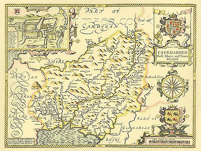 Carmarthenshire Replica Old J. Speed Old Map 1610 Full Size Print  Unique GIFT