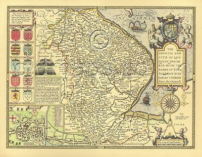 Lincolnshire Mounted & Framed Replica John Speed 1610 Old map ALL HAND COLOURED