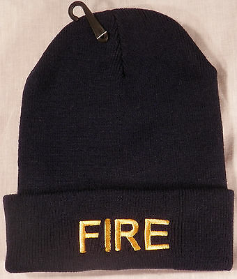 FIRE Knit Watch Cap/Hat Gold on Navy Blue (fire dept/department)