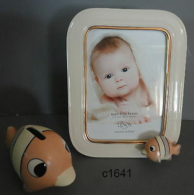 Lenox BABY FISH FRAME AND BANK SET new in box