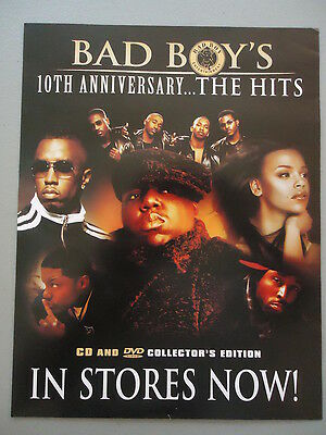 BAD BOY'S ...THE HITS MINI-POSTER flyer ad Notorious B.I.G. 50 Cent  P.Diddy RAP