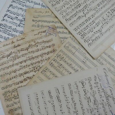 antique music paper HANDWRITTEN MANUSCRIPT , 10x maybe for craft origami cards