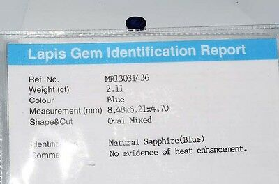 $2,800 2.11Ct Lapis Gem Certified Natural No Heat Loose Sapphire Gemstone