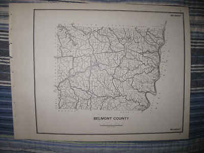 SUPERB rare ANTIQUE 1940 BELMONT COUNTY OHIO MAP HIGHWAY TOWNSHIP ROADS