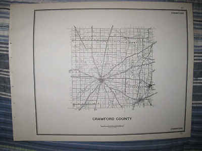 Superb Antique 1940 Crawford County Ohio Bucyrus Map Highway Township Roads Nr