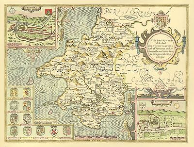 Pembrokeshire St. Davids Pembroke Replica John Speed Old Map 1610 HAND COLOURED