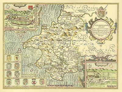 Pembrokeshire St. Davids Pembroke Replica of HAND COLOURED Speed Old Map 1610