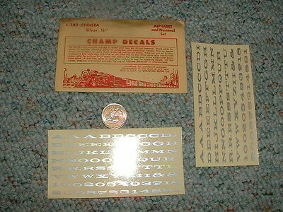 """Champ  decals O Gauge Numbers Alphabet L-128 Chelsea Silver 1/8"""" F7"""