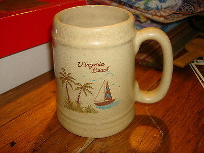 Antique YELLOWWARE SOUVENIR MUG Virginia Beach Sailboat