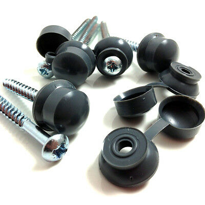 "25, 2 1/2"" (60mm) CORRUGATED ROOFING SCREWS & GREY STRAP CAPS FOR SHEET ROOFING"