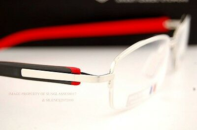 Brand New TAG Heuer Eyeglass Frames TRENDS RUBBER 8210 002 SILVER/BLACK/RED