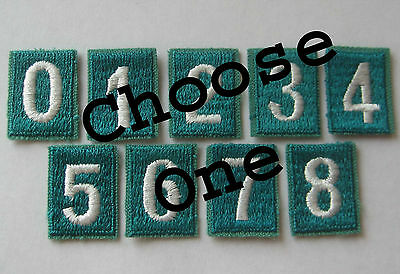 Girl Scout JUNIOR TROOP NUMERAL PATCH Uniform Number Badge 1994-2001 Jade Green